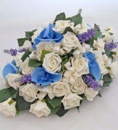 Ivory Diamante Foam Rose, Blue Silk Orchid and Lavender Wedding Day Table Arrangement Silk Orchids, Blue Orchids, Wedding Arrangements, Table Arrangements, Wedding Table, Wedding Day, Lilac, Lavender, Foam Roses