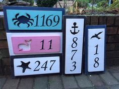House Number Address Sign Beach Lake House Nautical by CastawaysHall - 1 Number Digit  An original from CastawaysHall. A great way to show your house number on the beach or lake house or any house. Choose your cutout, choose your colour and whether you would like it to hang horizontally or vertically. These go great with my cutout shutters that are available in any size you need in my other listings.  This is the house number sign for ONE (1) number/digit. If you have more numbers, they ...