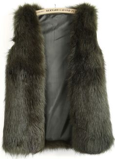 Chaleco pelaje sintético bolsillos sin manga-Verde EUR€42.33
