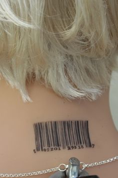Barcode neck tattoo on silicone doll - Sinthetics
