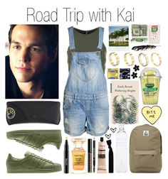 """""""Road Trip with Kai Parker"""" by polina-zhar ❤ liked on Polyvore featuring Onzie, ONLY, Ray-Ban, Polaroid, MAC Cosmetics, Tom Ford, Lord & Berry, ASOS Curve, CO and Aesop"""