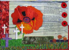 "Janet Rice-Bredin ""In Flanders Fields"" My own original mixed media fibre art collage. The large poppy is my own design, drawn from my garden. The crosses were traced from a photo of the Flanders Fields cemetery. The purple cross was in the shade of a tree. I ink-jet printed McCrae's poem onto fusible organza then ironed it onto the background. Also hand embroidered & free-motion machine quilted with metallic threads. Purple Cross, Flanders Field, Craft Projects For Kids, Fibre Art, Metallic Thread, Machine Quilting, Crosses, Cemetery, Collage Art"