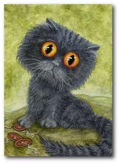 Big Eyed Grey Kitty Cat Cute as a Button by DreamCatchingStudio