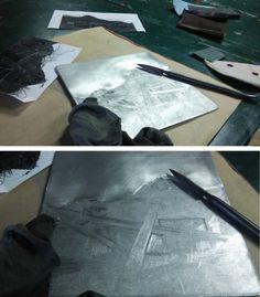 Laura Kozma: PRINTING Project - day 4 …finishing a mezzotint plate