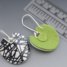 Black and White modern abstract polymer clay and sterling silver earrings @ Stonehouse Studio via Etsy