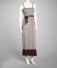 Take a look at this Brown Shirred Top Maxi Dress by Cristina Love on #zulily today!