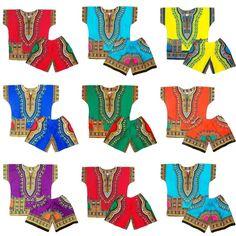 Kids Dashiki Set Baby Dashiki Suit Infant Suits Dashiki Shirts Shorts One Size #Handmade #Dashiki