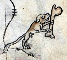 dog and bone  Hours of Saint-Omer, France ca. 1320  BL, Add 36684, fol. 34r