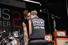 """Juliet performed """"end of the world"""" at warped.and juliet started crying in the middle of the song, and Andy came on stage at talked to her then kissed her on the forehead ♡♡ <<< Actually crying<<<legit cried watching this Black Viel Brides, Black Veil Brides Andy, Perfect Relationship, Relationship Goals, We Are The Fallen, Music Is Life, My Music, Andy Black, Best Boyfriend"""