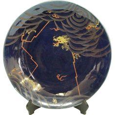 Japanese Antique Imari Ozara Porcelain Platter Lapis Lazuli and Unryu Dragon from The Many Faces of Japan on Ruby Lane