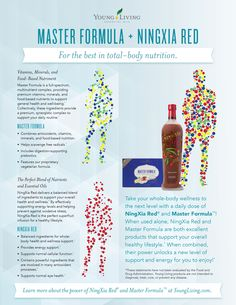 Young Living Essential Oils: Master Formula and NingXia Red for total-body nutrition Yl Oils, Yl Essential Oils, Young Living Essential Oils, Essential Oil Blends, Young Living Supplements, Savvy Minerals, Ningxia Red, How To Handle Stress, Young Living Oils