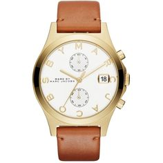Marc by Marc Jacobs Leather Slim Chrono Strap 38MM ($250) ❤ liked on Polyvore featuring jewelry, watches, clear jewelry, chronograph wrist watch, marc by marc jacobs, polish jewelry and marc by marc jacobs watches