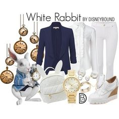 DisneyBound is meant to be inspiration for you to pull together your own outfits which work for your body and wallet whether from your closet or local mall. As to Disney artwork/properties: ©Disney. Alice In Wonderland Outfit, Wonderland Costumes, Disney Themed Outfits, Disney Bound Outfits, White Rabbit Costumes, Estilo Tim Burton, Disney Inspired Fashion, Disney Fashion, Fantasias Halloween