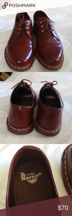 """DR. MARTENS"" 3 EYELET OXBLOOD Oxford SHOES For your consideration:   ""DR. MARTENS"" 3 EYELET OXBLOOD OXFORD men's SHOES AW004 AIRWAIR   Color: Burgundy/ Red.  In excellent used condition. Seems gently used. Dr. Martens Shoes Oxfords & Derbys"