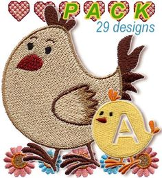 Chicken font. Exclusive - Cute Alphabets - Embroidery Fonts