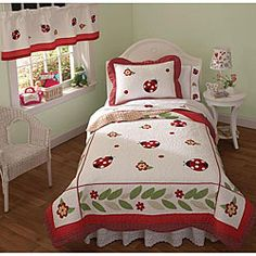 @Overstock - Help to give your child's bedroom a new look with these twin-sized quilt sets. The sets include a colorful cotton comforter and sham decorated with lady bug appliques, with the comforter containing a polyester filling for warmth and comfort.http://www.overstock.com/Bedding-Bath/Lady-BugTwin-Quilt-Set/4093268/product.html?CID=214117 $63.99