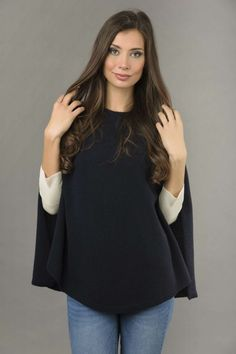 Our Blue navy cashmere poncho cape is perfectly plain-knitted to give you a classy appearance. Ultra-soft, made in Italy. Cashmere Dress, Cashmere Poncho, Knitted Poncho, Cashmere Wool, Asymmetrical Dress, One Size Fits All, Knitwear, Pure Products, Stylish
