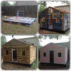 Wood Pallets Garden shed, Wendy house, play house made from recycling upcycling wooden pallets, love it Pallet Playhouse, Pallet Shed, Build A Playhouse, Pallet House, Pallet Patio, Outdoor Pallet, Playhouse Ideas, Pallet Benches, Pallet Tables