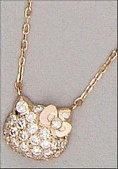 Hello Kitty Jewel BRILLER Face Pendant Pink Gold 18K Gold Diamond 0.5ct New