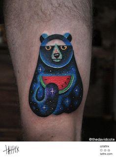 David Côté Tattoo - Bear Eating Watermelon