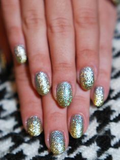 Mixed-metal manicure for the #holidays.  #nails #polish #glitter #beauty