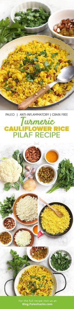 Cajun Delicacies Is A Lot More Than Just Yet Another Food This Paleo Pilaf Swaps Out Traditional Rice With Healthy Cauliflower Spiced With Anti-Inflammatory Turmeric Get The Recipe Here: Http:Paleo. Turmeric Recipes, Whole Food Recipes, Vegetarian Recipes, Cooking Recipes, Healthy Recipes, Tuna Recipes, Dessert Recipes, Turmeric Cauliflower, Cauliflower Recipes