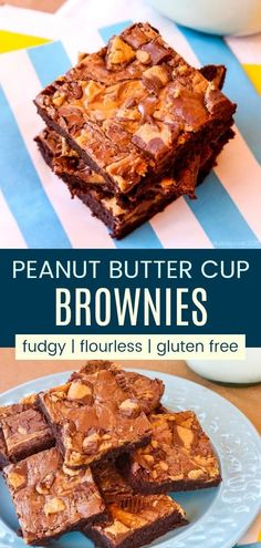 Flourless Peanut Butter Cups Brownies - rich, fudgy chocolate brownies swirled with peanut butter and chunks of Reese's. A to-die-for gluten-free dessert recipe! Brownie Recipes, Cupcake Recipes, Chocolate Recipes, Dessert Recipes, Chocolate Deserts, Brownie Ideas, Chocolate Chocolate, Chocolate Lovers, Peanut Butter Swirl Brownies