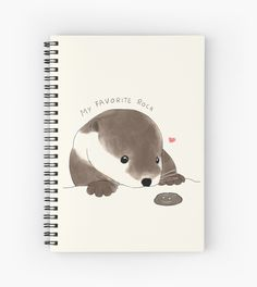 beanming shop | Buy this cutest sea river otter with paws and his favorite rock minimal notebook stationery design . This is a perfect gift for pet, animal, or otter lovers #beanming #bibis #otter |cute otter | Cute animals | Cute illustration | Cute Design | Cute stationery | Aesthetic design | sea otter river otter| Cute otter Drawing | Cute notebook |