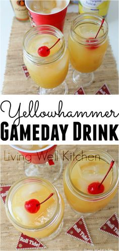 Homemade Yellowhammer recipe from is inspired by the popular Yellowhammer drink from a college bar in Tuscaloosa, AL. This fruity alcoholic beverage is sure to wake you up & get your gameday going strong. Great for tailgating or a football watching party Tailgate Drinks, Tailgating Recipes, Party Recipes, Drink Recipes, Juice Recipes, Alcohol Recipes, Cocktail Recipes, Breakfast Tailgate Food, Shot Recipes