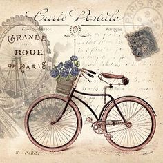 vintage bicycle images for decoupage Vintage Labels, Vintage Cards, Vintage Paper, Vintage Postcards, Vintage Retro, Images Vintage, Photo Vintage, Vintage Pictures, Decoupage Vintage