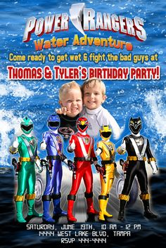Custom power ranger photo invitations