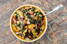 Sourdough Stuffing With Kale, Dates and Turkey Sausage