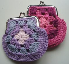 Free pattern  Ravelry: Granny square coin purse pattern by Nicole M