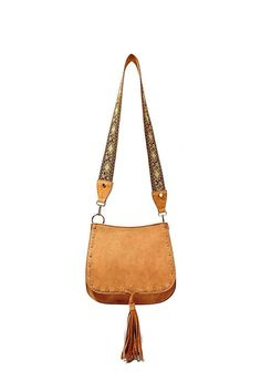"""Bohemian tan saddle bag from Steve Madden with gold grommets and embroidered guitar strap.  Dimensions:10""""H x 11""""L x 4""""W; 18"""" drop strap  Tan Saddle Bag by Steve Madden. Bags - Shoulder & Hobo New York"""
