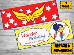 Wonder woman bag toppers- DIY birthday bags - Wonder woman Party Decoration- Printable bag topper- Wonder woman printables -Birthday bag tag by Chumelito on Etsy