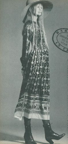 Classic Bohemian dress :long, patterened, flowing, shapeless, long-sleeved (original bohemian style)