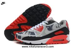 Nike Air Max 90 2013 Differentiation Grey Black Red Womens Shoes