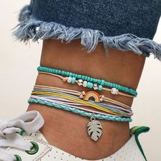 $10.05 | ZG Bohemian Handmade Weave Anklets Sky Blue Rope Chain Leaves Anklet Vintage Beads Stone Bracelets for Women Jewelry Outfit Accessories FromTouchy Style | Free International Shipping. Girls Jewelry, Women Jewelry, Teenager Fashion Trends, Chakra, Rope Chain, Stone Bracelet, Bohemian Jewelry, Anklets, Charm Jewelry