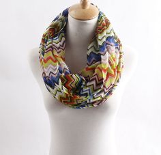 Blue yellow chevron infinity scarf wave by blackbeanblackbean, $7.56