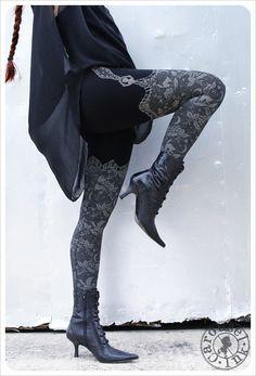 Night Lace Legging - faux thigh high - large Black Legging - Tights - Original art legging - SMALL