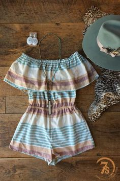 The Lauderdale - Soft summer serape romper. Soft willow, rose, mauve and ivory pattern. Woven knit cotton. Off the shoulder. Comfortable hidden elastic top band