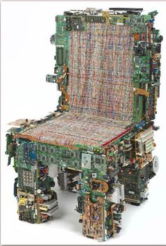 A chair from #upcycled computer parts