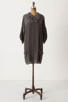 Gray silk dress--Anthropologie