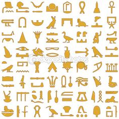 ensemble décoratif de hiéroglyphes égyptiens 2 — Illustration #26858891