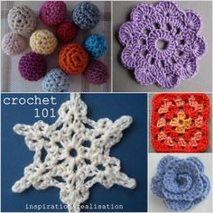 Crochet 101 - roundup from Inspiration & Realisation with TONS of links to basic stitches (including some video links), patterns, how to follow a stitch diagram, crocheting in circle, filet, flowers, beads & 3D crochet, and more!  Finally, I need to learn how to crochet!