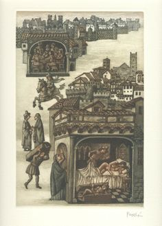 Bernabó de Génova - El Decamerón de G. Boccaccio, con grabados originales de Celedonio Perellón - Jornada II :: Novela novena: Bernabó de Génova, engañado por Ambruogiuolo, pierde su hacienda y manda matar a su inocente esposa; ésta se salva y, con ropas de varón, sirve al sultán; se encuentra al burlador y conduce a Bernabó a Alejandría, donde, tras el castigo del burlador, vuelve a adoptar sus ropas femeninas y ella y su marido ricos regresan a Génova :: © 2008 Liber Ediciones