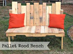 pallet wood bench, I like the back, and some info on how to use pallet wood, although in parts they mention they wish they had used new 2x4s