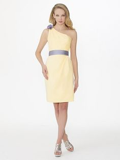 Valstefani.com style VS9221: Satin, satin faced chiffon knee length sheath. One shoulder, and natural waist with sash. Rosette at shoulder. Available in solid or two tone color options.