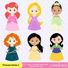 Cute Princess Digital Clipart Disney Princess by Cutesiness, $6.00