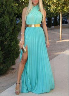 #Woman Essential Halter Design Light Blue Maxi Dress
